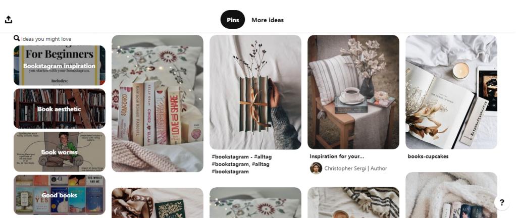 Screenshot of Book Pinterest board