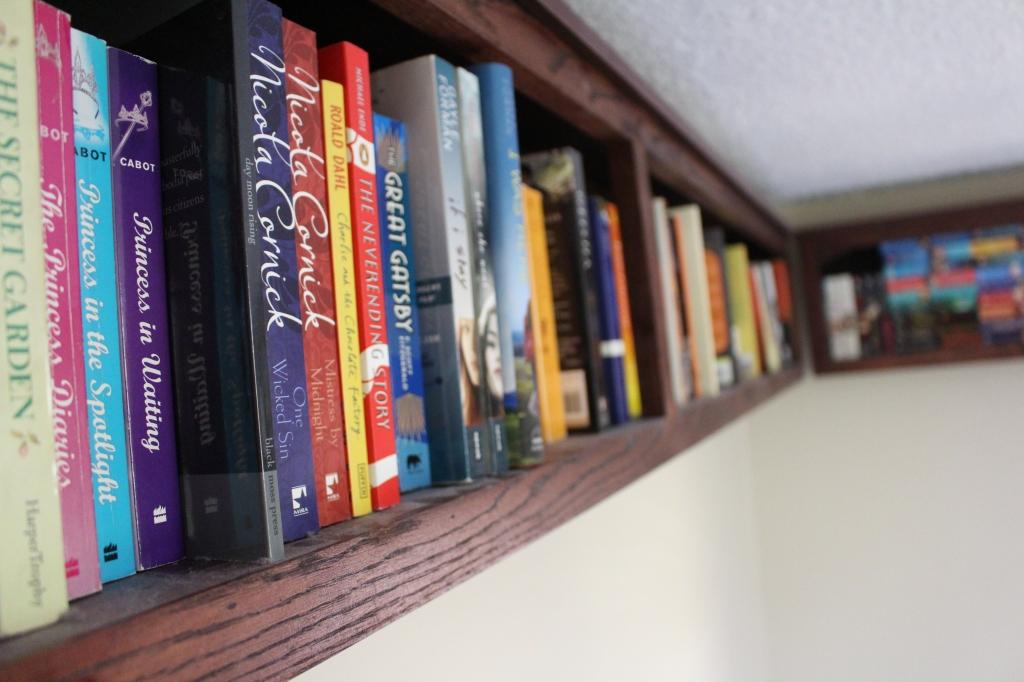 books on ceiling shelf