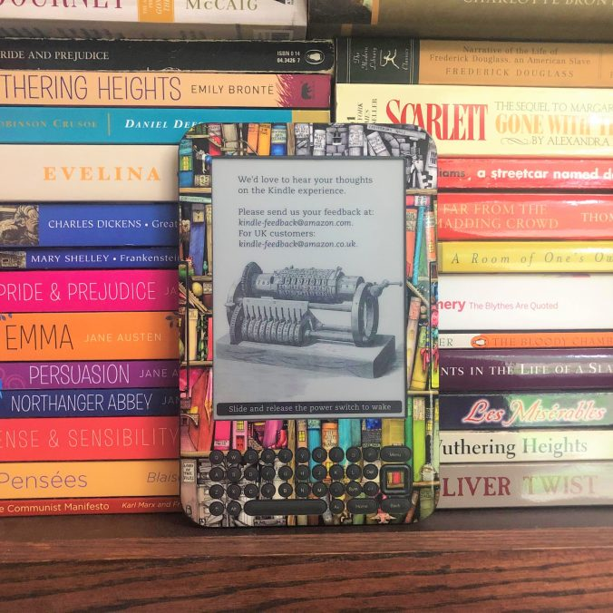 E-Reader on book shelf